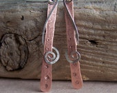 Copper and Sterling Silver Dangles,Spiral Earrings,  Mixed metal earrings, hand forged copper and sterling earrings
