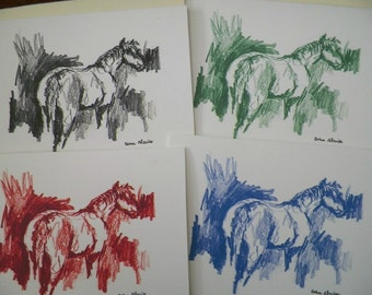 Sketch of a Horse Greeeting Cards Stationery Cards Blank Colorful Original Art Printed Cards Colorful Horses