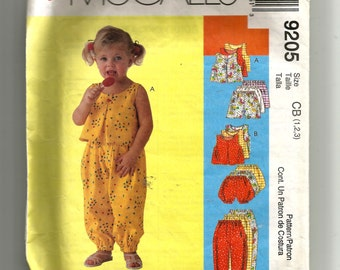 McCall's Toddlers' Top, Pants, Shorts , and Bloomers Pattern 9205