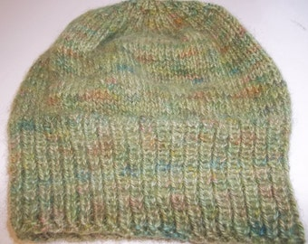 Hand knit knitted Iceland wool hat cloche beanie unisex men women hat skicap watch cap slouchy hand dyed green brown bronze large
