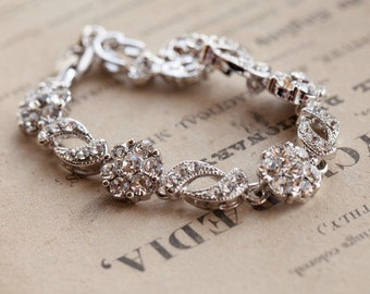 Silver & Crystal Wedding Bracelet , Freesia