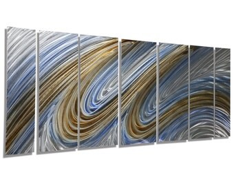Blue Silver Gold Modern Metal Wall Art - Abstract Metal Painting - Home Decor - Wall Accent - Heavenly Flight XL by Jon Allen