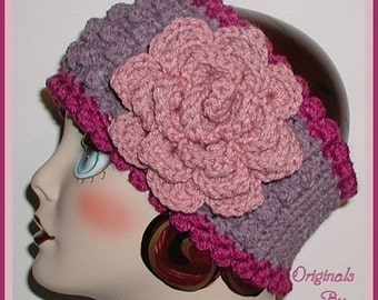 Lavender Ear Warmer Headband Dusty Pink Flower Purple Extra Wide Ski Head Band Winter Gear