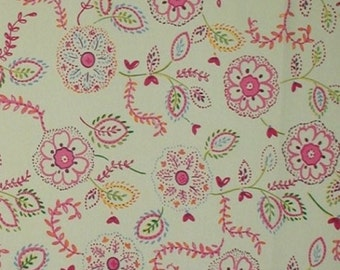 Mint Green Fabric Magenta Pink Flower Power Colorful Big Flowers Floral Heart Shaped Leaves Cotton Quilting