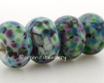 Lampwork Glass Bead Set JITTERBUG - TANERES black green purple blue