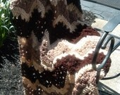 Hand Crocheted Decorative Afghan Throw Blanket Lacey Ripple in Browns and Cream