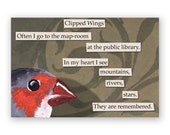 SALE! Clipped Wings Magnet - Bird - Library - Travel - Gift - Stocking Stuffer
