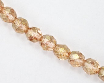 8mm Gold Luster Rose Fire Polished Bead (25 Pcs)  #GBF069