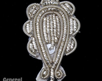 40mm Silver Paisley Patch #3394