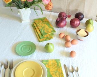 green and gold lilypads batik dinner napkins