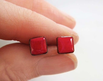 Cherry Red Enamel Mini Square Stud Post Earrings, Kiln-fired Glass Enamel and Sterling Silver, 7mm Square Post Stud Earrings