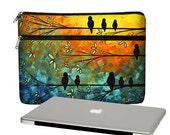 MadArt 13 inch Laptop Sleeve /  Macbook Pro 13 Case / 13 Macbook Air Bag /  Macbook Pro Retina Case / Zipper Pocket Birds of a Feather MTO