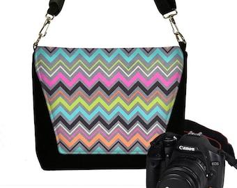 SLIGHTLY IMPERFECT 40% Off - Dslr Camera Bag Purse Chevron Camera Case  Womens Messenger Bag Slr Camera Bag Pink Orange Blue Green RTS