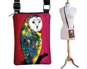 SALE Clara Nilles Cute Owl Phone Case Small Shoulder Bag iPhone Purse Cell Crossbody Bag - Barn Owl pink red yellow green blue RTS
