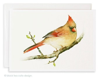 Set of 4 watercolor note cards - Cardinal Cards, Stationery, Birds watercolor cards