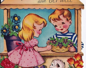 Vintage 1950's Please Hurry and Get Well Little Girl Little Boy and Kitten Greetings Card (B15)