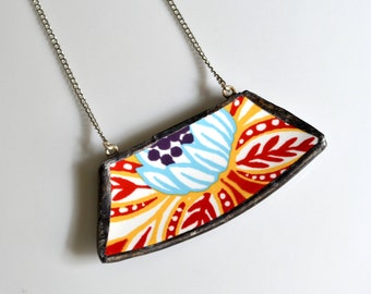 Wide Rim Broken China Jewelry Necklace  - Red Blue and Yellow Modern