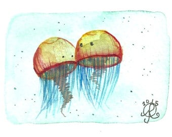 Mini Jellywishes: Alex & April ACEO