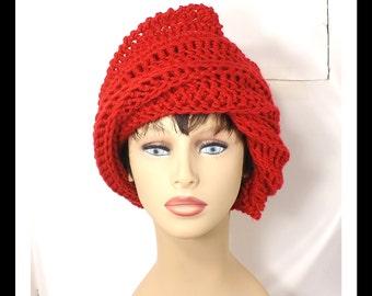 Red Crochet Hat Womens Hat, Steampunk Hat, Crochet Beanie Hat, Red Hat, Crochet Winter Hat, JUDY Beanie Hat for Women