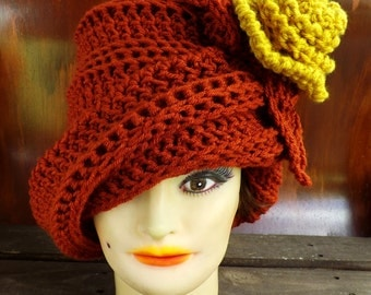 Cloche Hat 1920s,  Womens Crochet Hat Womens Hat,  Crochet Flower Terra Cotta Hat,  Sungold Flower,  Ombretta 1920s Cloche Hat