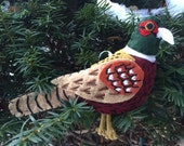 Ring Necked Pheasant Felt Bird Ornament,embroidered, Home Decor