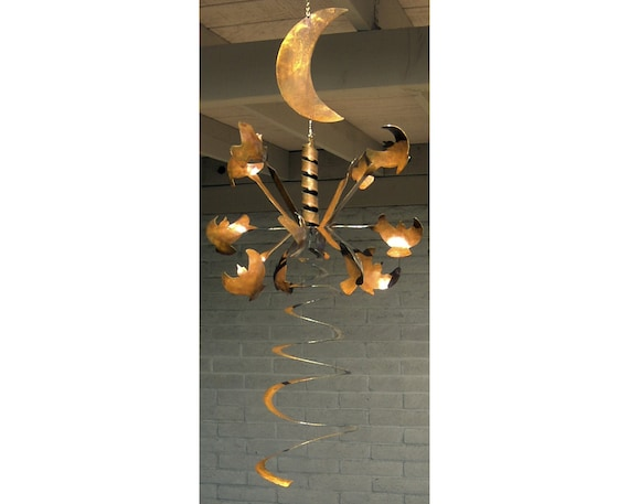 Wind Sculpture Kinetic Hanging Rusted Metal, Celestial  Stars Moon Arms with Spiral