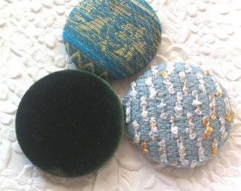 3 blue green buttons, velvet button, fabric buttons, covered buttons, textured buttons, 1.5 inch button, size 60 buttons