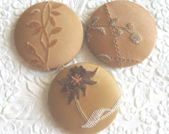 Gold buttons,  fabric covered buttons , embroidered buttons, size 75 buttons