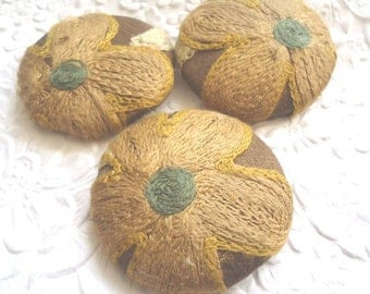 Dark gold/olive mix - 3 crewel embroidered fabric covered buttons -  1 7/8 inches