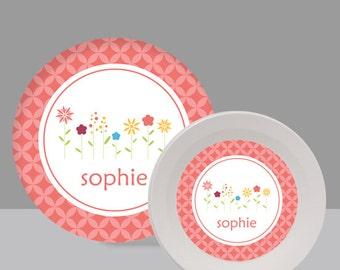 Flowers Melamine Bowl or Plate Custom Personalized with Childs Name