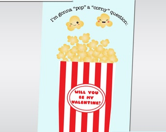 Printable Kawaii Popcorn Valentines Digital File Instant Download Printable Valentines