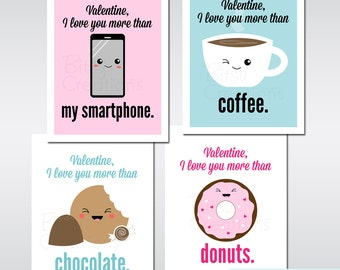 Funny Printable Valentines Digital File I Love You More Than... Printable Valentines