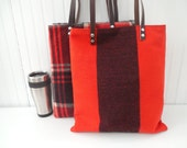 Wool Laptop Tote Leather Handles
