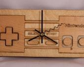 Laser Cut Wood Nintendo NES controler wall clock