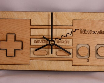 Laser Cut Wood Nintendo NES controller wall clock