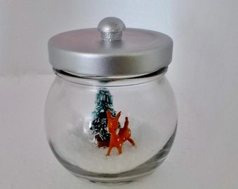 Miniature Snow Scene Waterless Snow Globe Recycled Christmas Decoration Deer Christmas Tree Snow