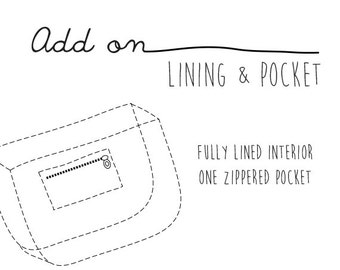 Add On - Lining & Zippered Internal Pocket for Unisex Messenger Bag