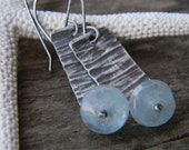 rustic textured silver earrings with icy blue aquamarine - oxidized silver