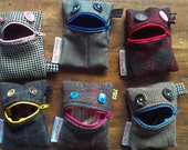 Monster Purse with blue button eyes and pink lips | RESERVED for Rebecca