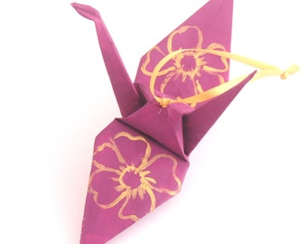Large Gold Cherry Blossoms on Mulberry Handpainted Origami Crane Ornament Plum