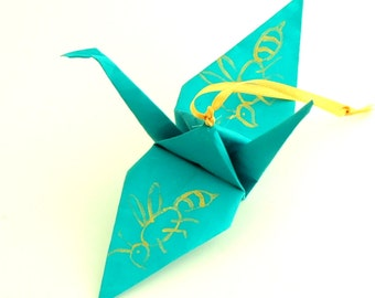 Gold Bees on Aqua Origami Crane Ornament Wedding Favor Home Decor