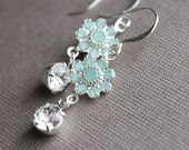 Ina Earrings - Swarovski Crystal - Silver Plated - Pacific Opal - Bridesmaid Jewelry