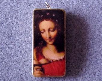 St. Agatha Catholic Art Recycled Domino Necklace Patron Breast Cancer, Nurses AG5