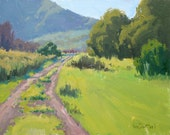 Canyon Road in Spring - 11 x 14 Inch Original Oil Painting - Rural Painting - Canyon Painting - Wall Decor