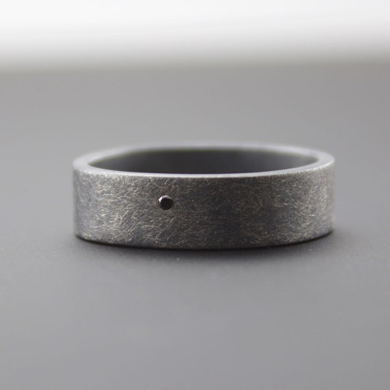 Rounded Square Ring Black Diamond Ring Roughed Up by CocoandChia