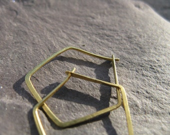 Divine proportion , modern geometric earrings, polygon | pentagon minimalist gold brass hoops
