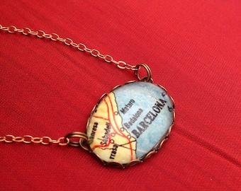 Barcelona Spain Map Pendant Necklace // Oval Glass Map Necklace - Barcelona Map Necklace Jewelry