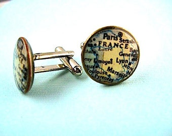France Vintage Map Cufflinks-  Paris France Cuff Links  - francophone eco recycled coin jewelry -  Groom Paris