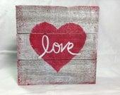 Love mixed-media wood-plank wall art