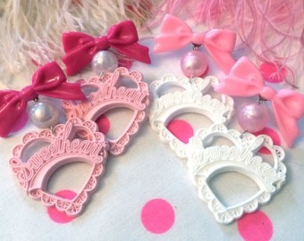 Pink and White Sweetheart Earrings